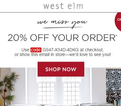 West elm coupon code 20 off