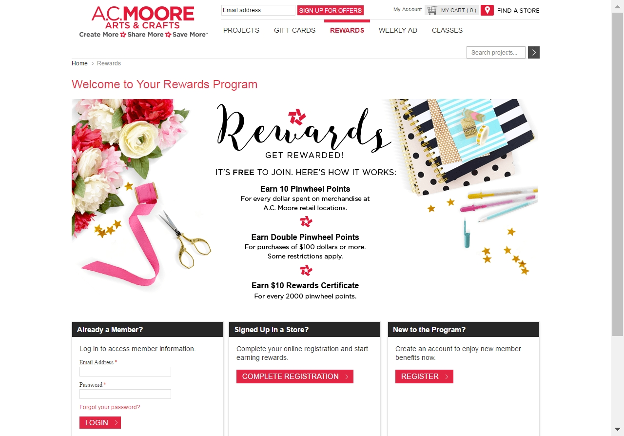 With these loyalty rewards programs, you can earn free gift cards, cash back, and other rewards when you shop at your favorite stores. A.C. Moore Milles Studio/Stocksy United Earn one point for every dollar that you spend, and double points for all purchases totaling $ or more.