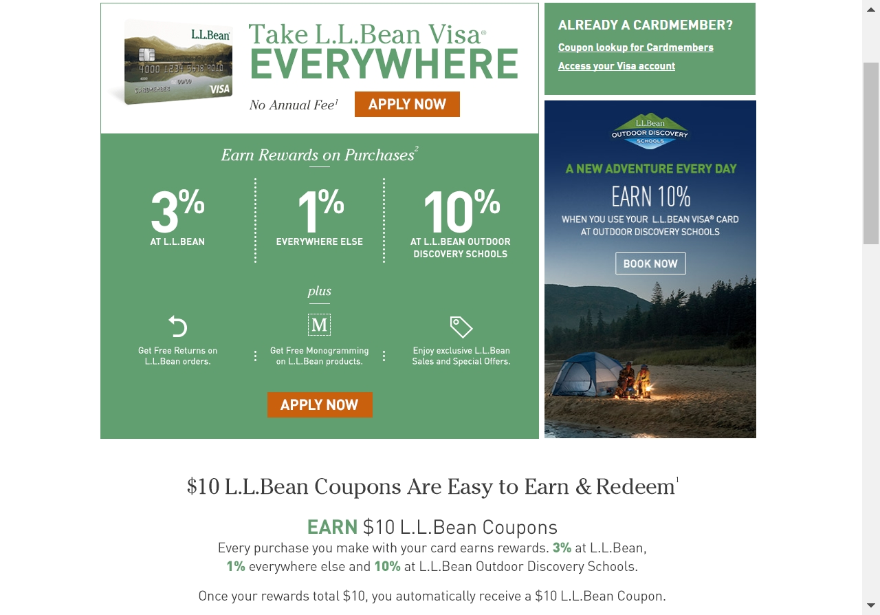 llbean visa coupon code