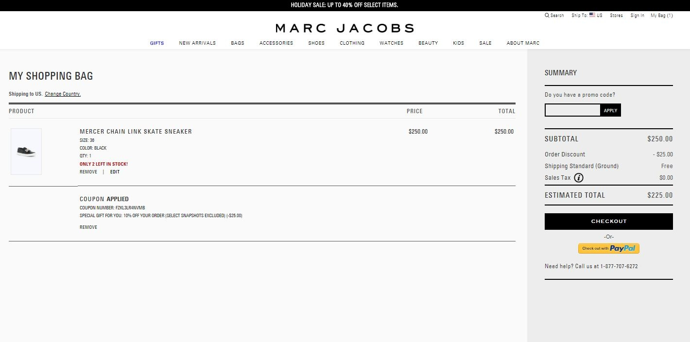 How to Redeem a Coupon Code at Marc Jacobs. Enter a promo code at checkout to enjoy additional savings on the items in your shopping bag. Codes are item specific, so you must enter the right code. For example, if you are purchasing a handbag, and the coupon code you use is for beauty products, the system will reject it.