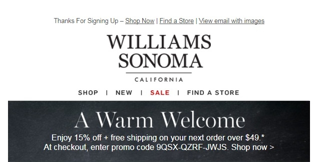Williams and sonoma coupon code
