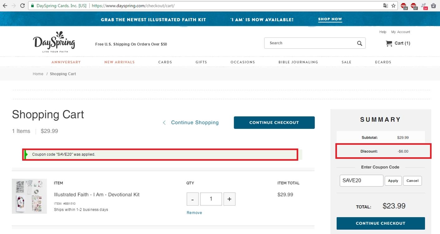 Dayspring coupon code free shipping