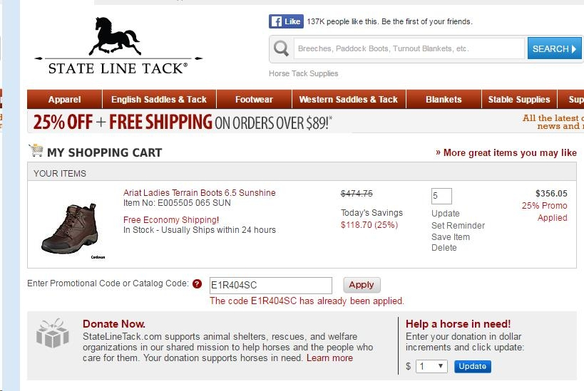 State line tack discount coupon code