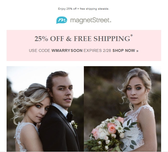 Save 30% Off + Free Shipping + Free Guest Addressing at MagnetStreet Start making purchases using this coupon code and enjoy great savings. Shop right away and get 30% Off + Free Shipping + Free Guest Addressing at MagnetStreet.
