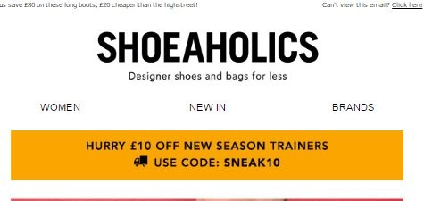 Shoeaholics is a professional online shop, specializing in shoes for men and women. Their shoes cover a wide section, including boots, flats, courts, occasion & evening shoes, sandals, wedges, trainers, casual shoes and formal shoes.