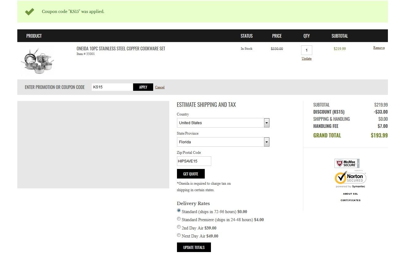Oneida coupon code