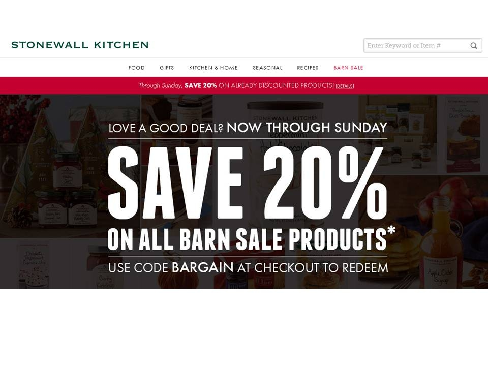 How to use a Stonewall Kitchen coupon Save on products for the kitchen and home with sales at Stonewall Kitchen. Sign up for e-mails to get sale announcements and coupons delivered to your inbox, or become a site member to get access to special members-only promotions.