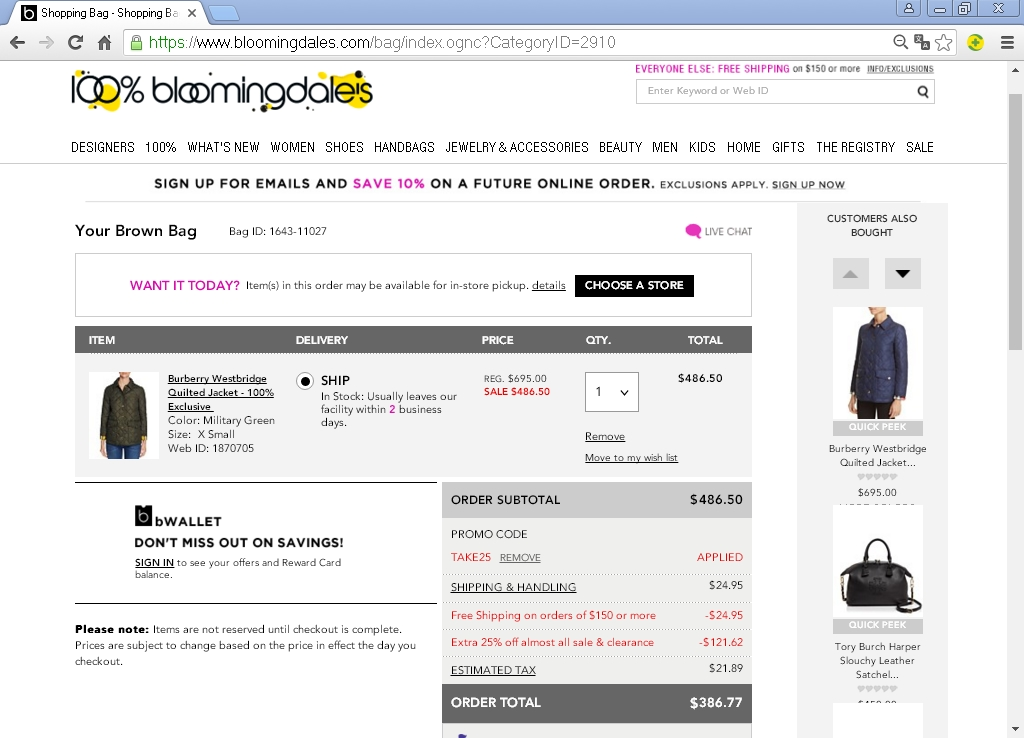 Today's top Bloomingdales Coupon: Friends & Family 25% Off. See 40 Bloomingdales Coupon and Promo Code for December