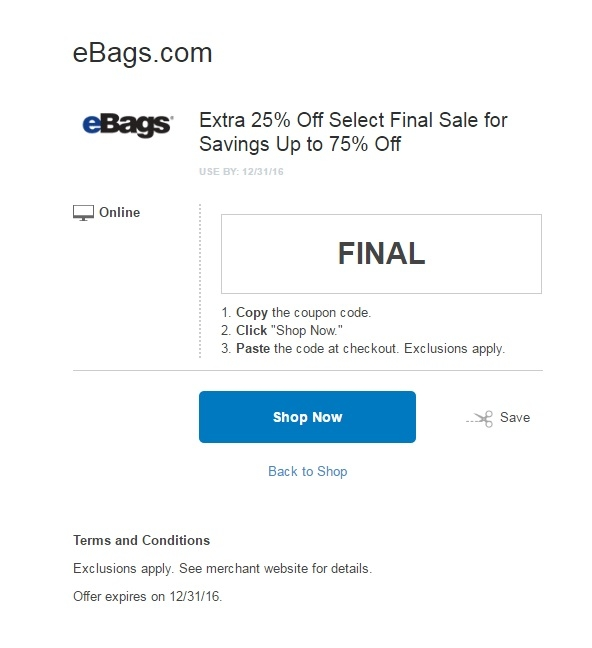 ebags 25 off coupon