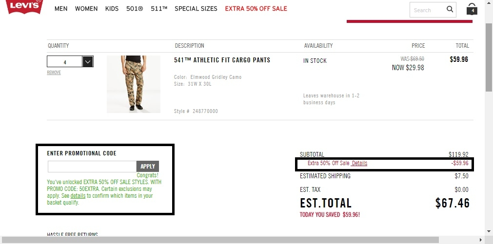 Levis coupon code online