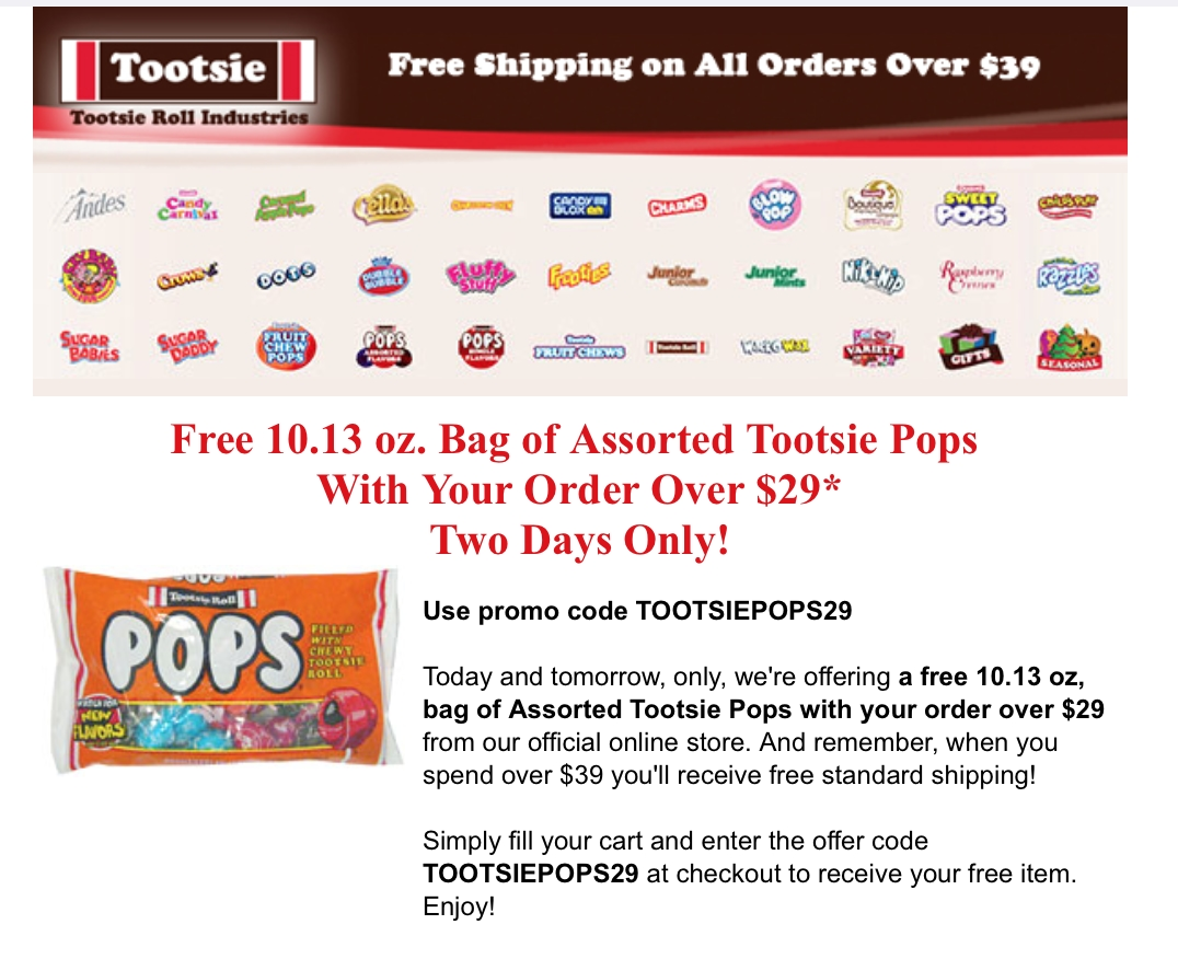 Tootsie Roll Promo Codes & Cyber Monday Deals for November, Save with 20 active Tootsie Roll promo codes, coupons, and free shipping deals. 🔥 Today's Top Deal: Take 10% Off Your Purchase. On average, shoppers save $18 using Tootsie Roll coupons from believed-entrepreneur.ml
