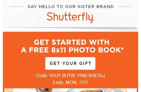 Shutterfly coupon free photo book 2018