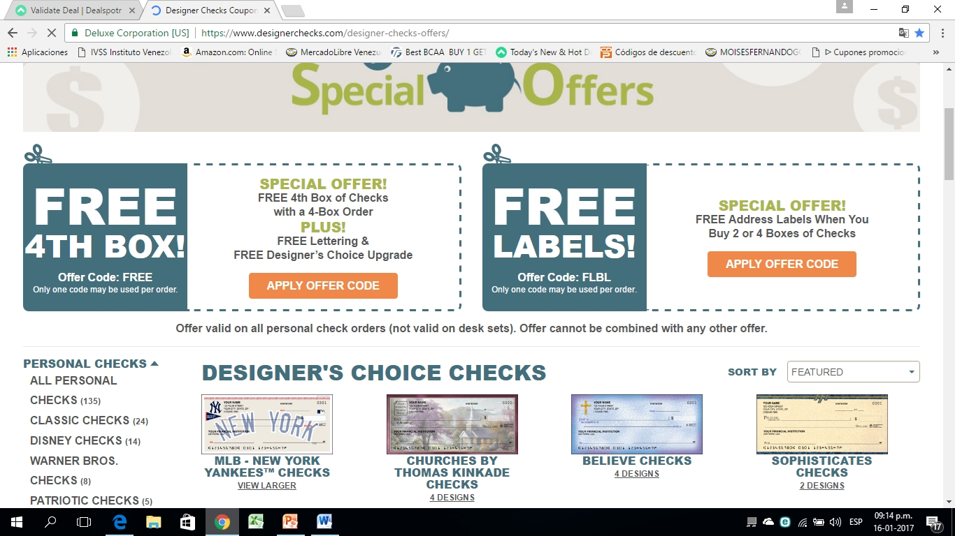 Checks coupon code