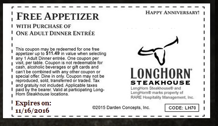 photo regarding Longhorn Steakhouse Printable Coupons called Longhorn coupon codes cost-free appetizer - 6 02 discount codes