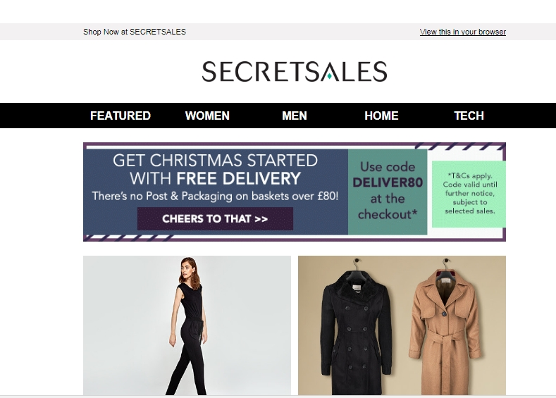 About SECRETSALES SECRETSALES gives their members access to sales from the favourite designer fashion brands. Simply sign in to your SECRETSALES account to find designer clothes, accessories, beauty products and homeware for up to 70% off, and when you use a promo .