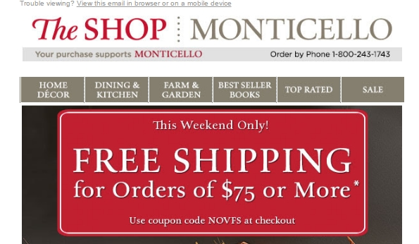 Get all you need to make a great outdoor atmosphere with Monticello. Bring your garden to life with great deals on lanterns, outdoor décor, outdoor furnishings, seeds and plants. Also get books and benches as well as décor for outdoor celebrations. Use a Monticello discount code, promo code or coupon code for many items now.