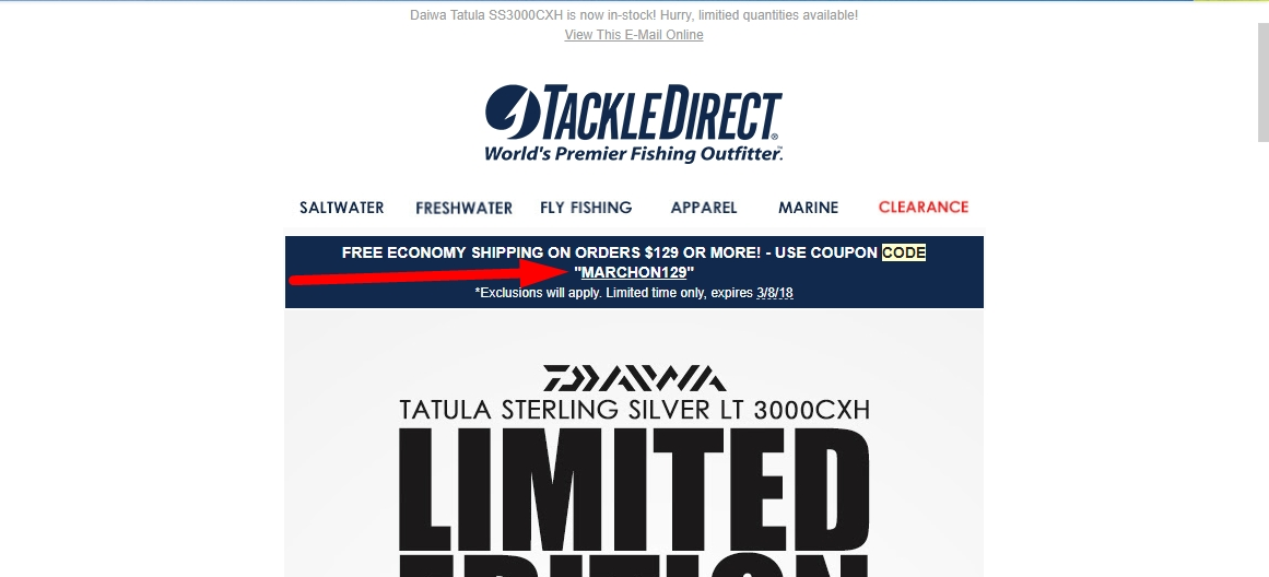 Tackle Direct Promo Codes for November, Save with 13 active Tackle Direct promo codes, coupons, and free shipping deals. 🔥 Today's Top Deal: Free Economy Shipping on Orders $99 or More. On average, shoppers save $49 using Tackle Direct coupons from zooland-fm.ml