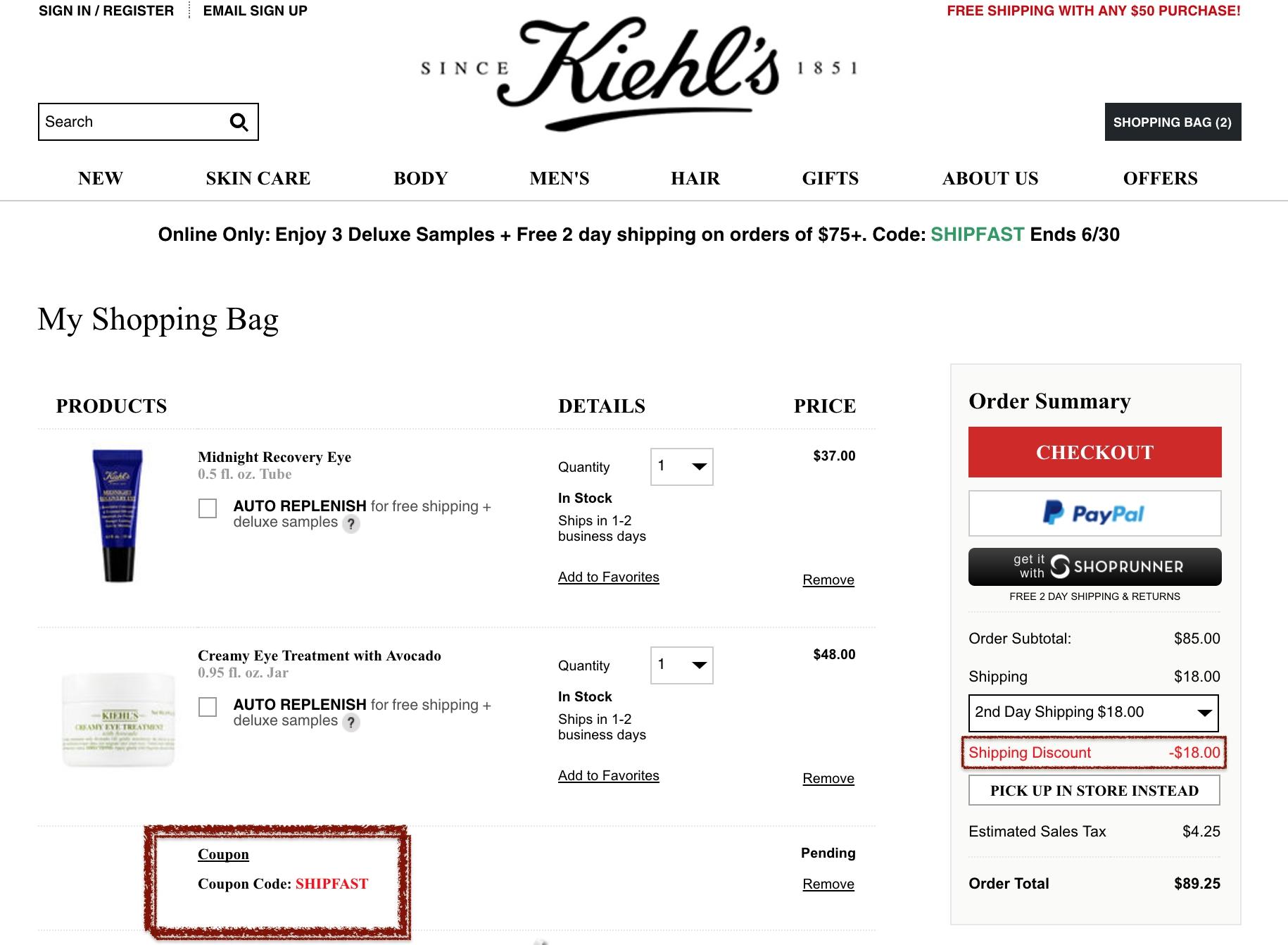 Kiehls coupon code