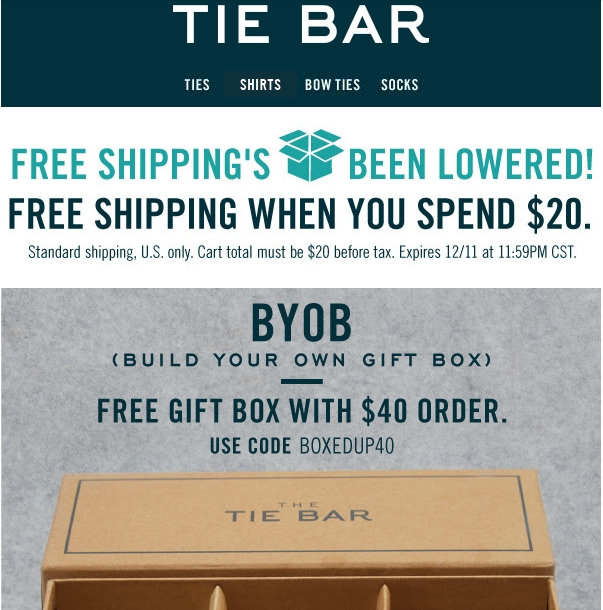 Discounts average $7 off with a The Tie Bar promo code or coupon. 41 The Tie Bar coupons now on RetailMeNot.