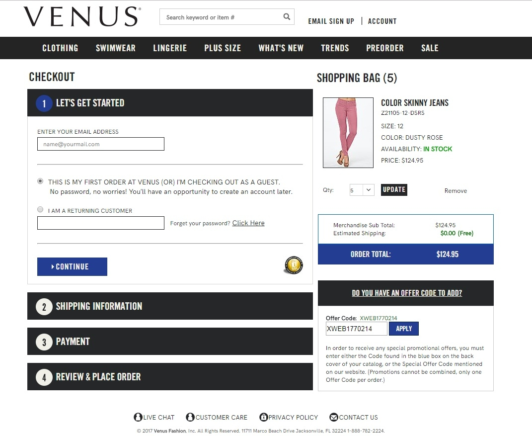 Coupon codes for venus