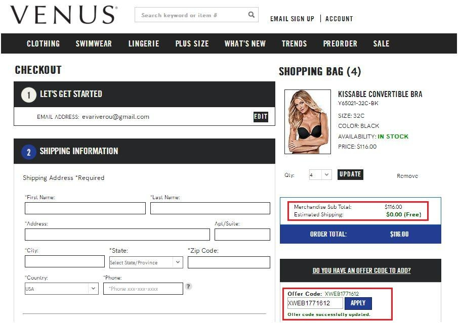 Venus coupon codes free shipping