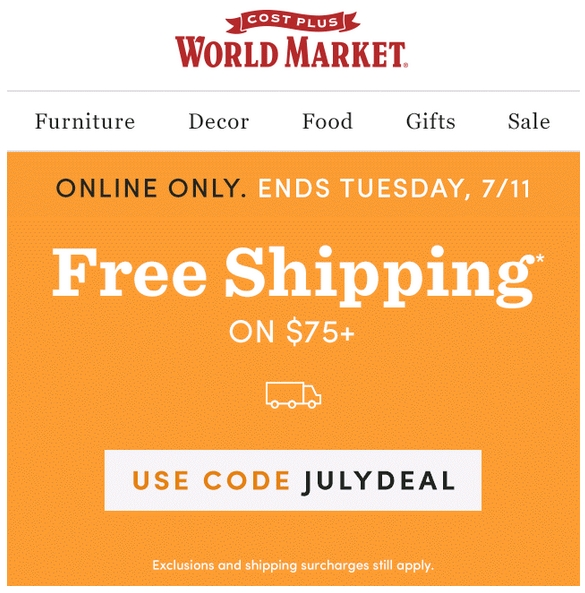 World market coupon code