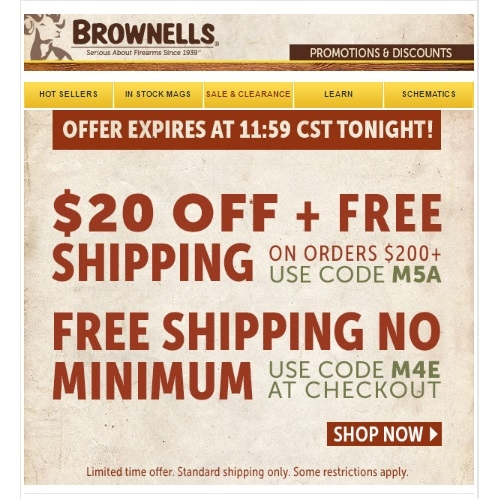 Brownells coupon free shipping