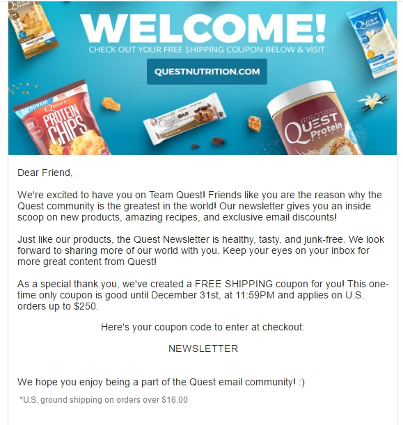 Quest coupon code 2018