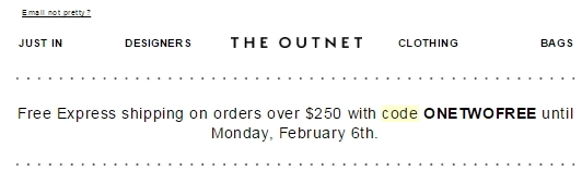 The Outnet Promo Codes & Black Friday Deals for November, Save with 13 active The Outnet promo codes, coupons, and free shipping deals. 🔥 Today's Top Deal: (@Amazon) Free Shipping on Select The Outnet Products. On average, shoppers save $52 using The Outnet coupons from bounddownloaddt.cf