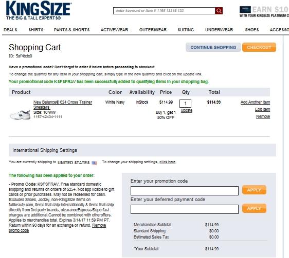 Free shipping coupon code kingsize direct