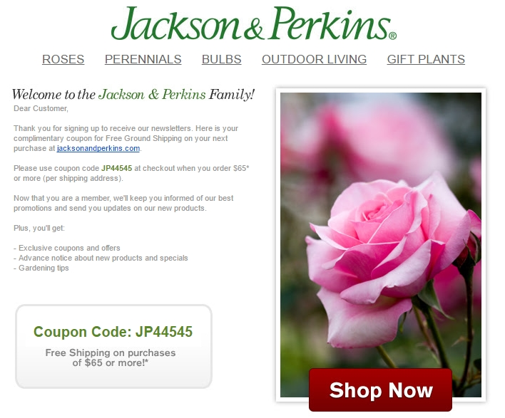 Jackson perkins coupons promo codes