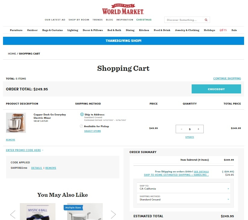 How to Redeem a Coupon Code at Cost Plus World Market. After adding your selected goods to the online 'shopping cart,' you will redeem a World Market coupon code during the checkout process, which is described below: To pay for items in your cart, click 'Checkout' to initiate the process.