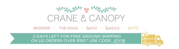 Save more about the latest and limited-time Crane and Canopy promo code today when you buy through this discount link today at Crane and Canopy. Codes is guaranteed to work online. Get Code RS Ends Code. Get 20% Discount Your Entire Purchase.