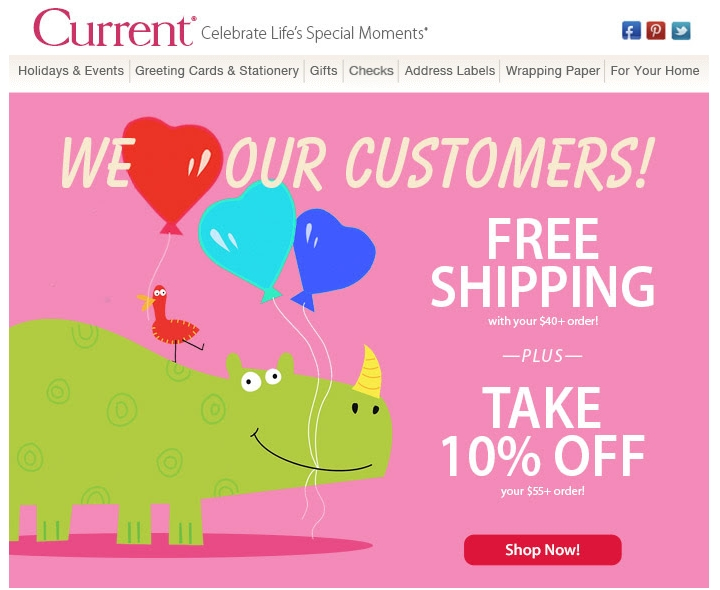 Current catalog coupon code