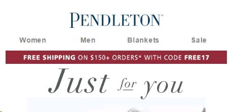 Pendleton Coupons & Promo Codes. Sale 8 used today Pendleton Coupon Codes, Promos & Sales And while you're there, sign up for emails from Pendleton and you'll receive coupons and more, right in your inbox! 20% Off All Orders & Free Shipping On Orders Of $+ At Pendleton.