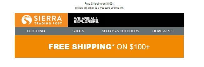 Keycode sierra trading post free shipping