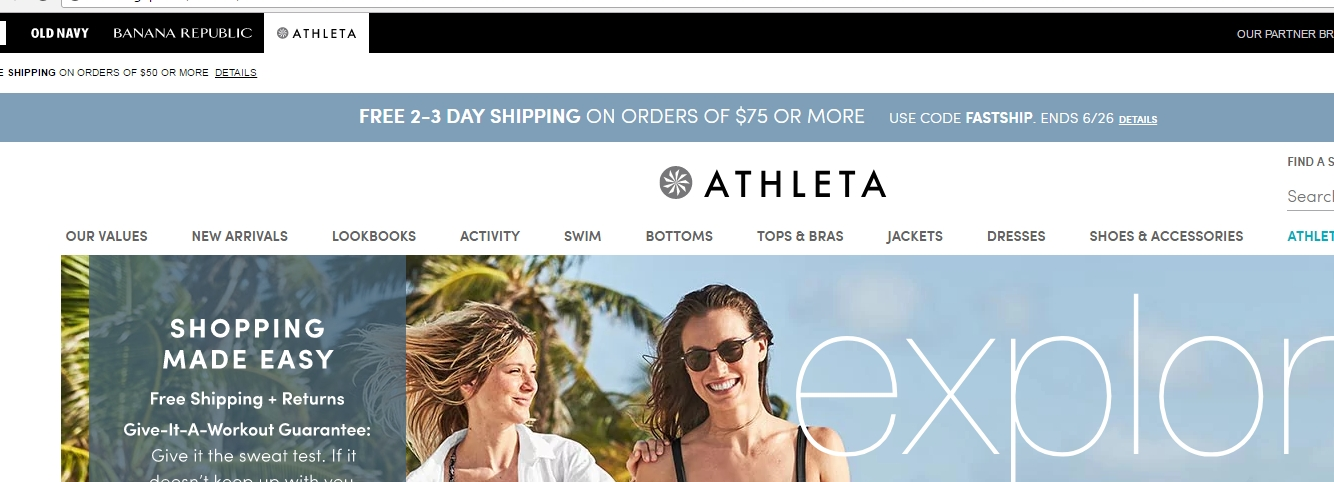 Expires Nov Get free shipping on orders of $50 or more when you order online from Athleta. Exclusions may apply.