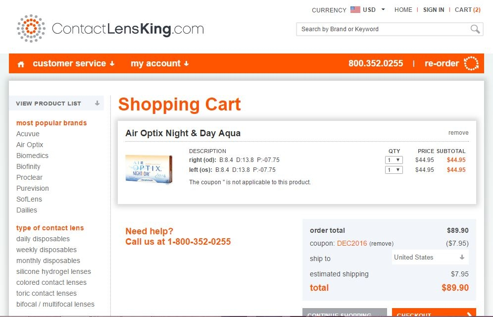 ContactLensKing Coupon Codes