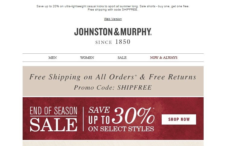 johnston and murphy promo code