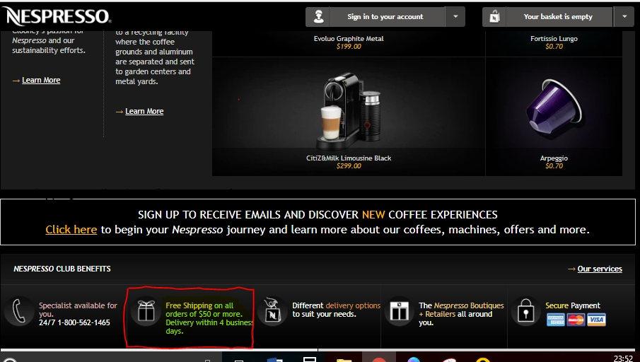 Nespresso coupon code free shipping