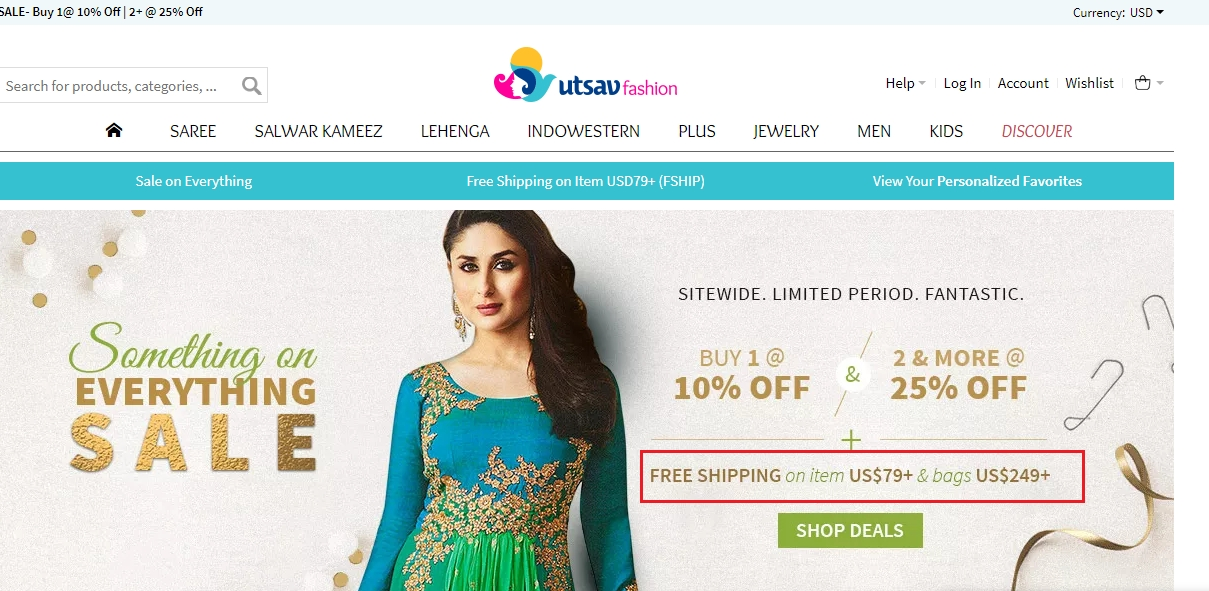 Utsav fashion discount coupons