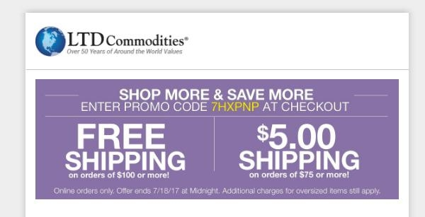 Free shipping coupon code for ltd commodities