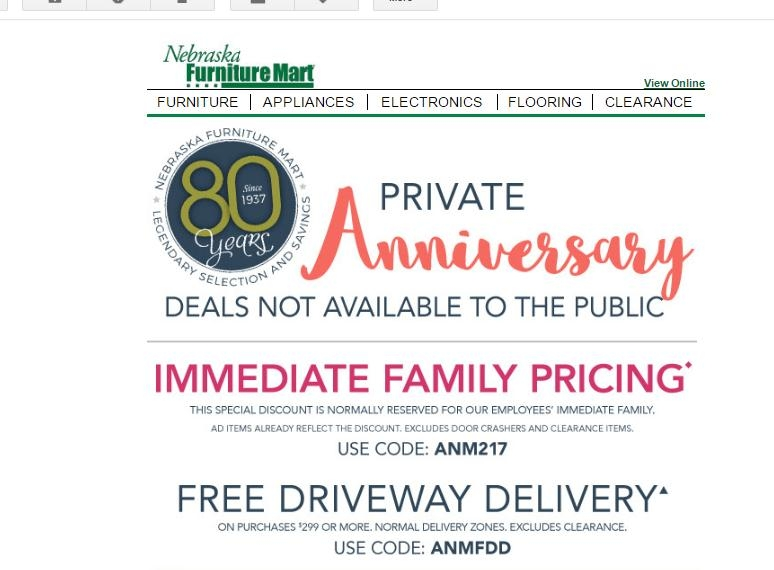 $10 Off $ at Nebraska Furniture Mart. Nebraska Furniture Mart mtl999.ga coupon code and discount codes for December by mtl999.ga Use the fantastic Free Shipping Coupon Code to grab huge savings at mtl999.ga before it expires! expire on 01/02/19; Nebraska Furniture Mart Coupon Codes.