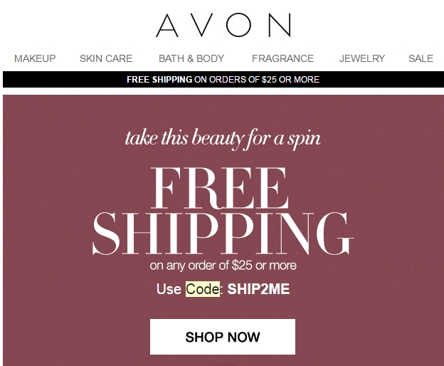 Avon coupon code 2018