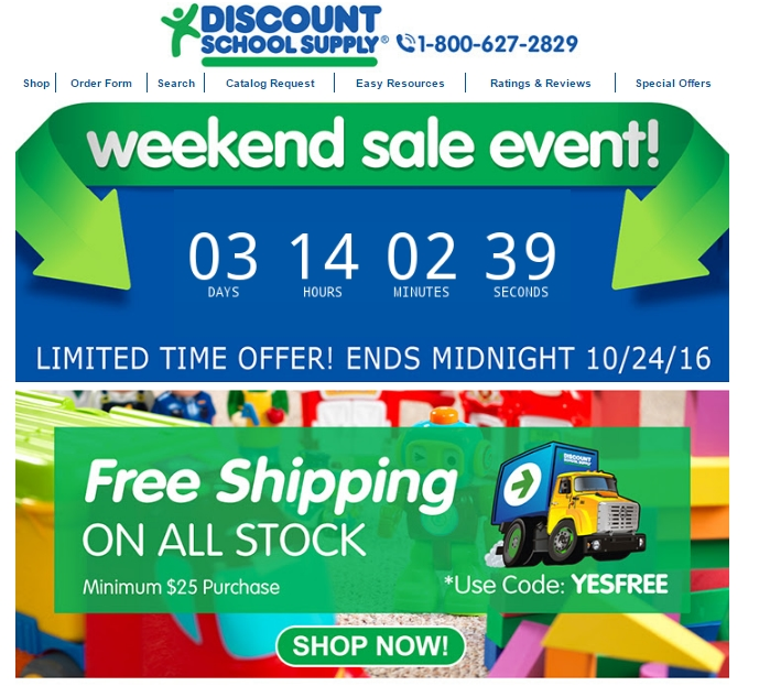 Discount school supply coupon code free shipping