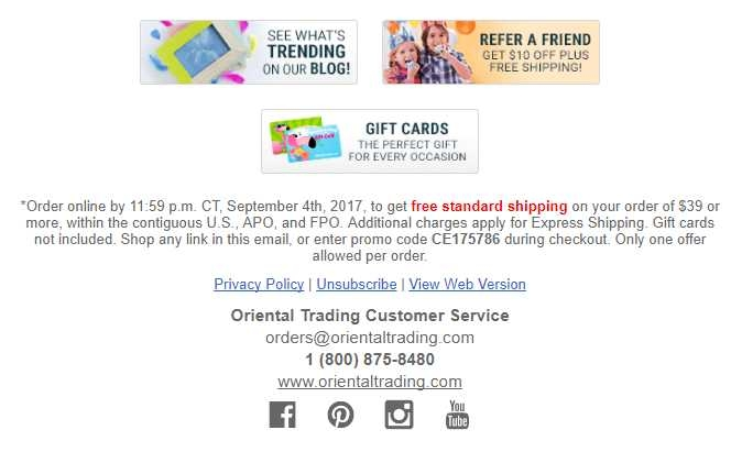 Free shipping coupons oriental trading