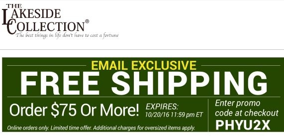 Lakeside collection coupons free shipping - Dress barn code