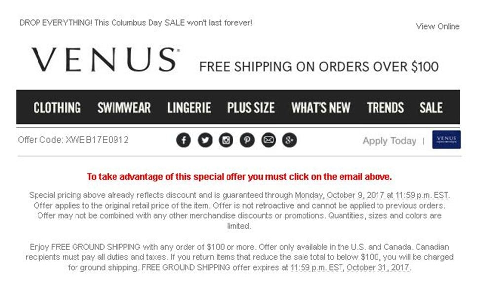 Venus coupon codes