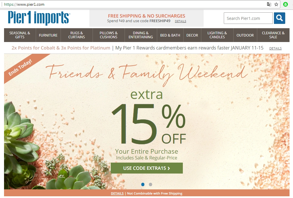 Enjoy shopping with latest Pier 1 FREE shipping code ! Use Pier 1 coupon & promo code to save up to 20% OFF! Check Pier One coupons & coupon codes now! Pier 1 Coupons. Based on 5 user ratings Rss. Pier 1 provides home and garden products. The store features a variety of outdoor and indoor furniture, dining, entertaining, home decors.