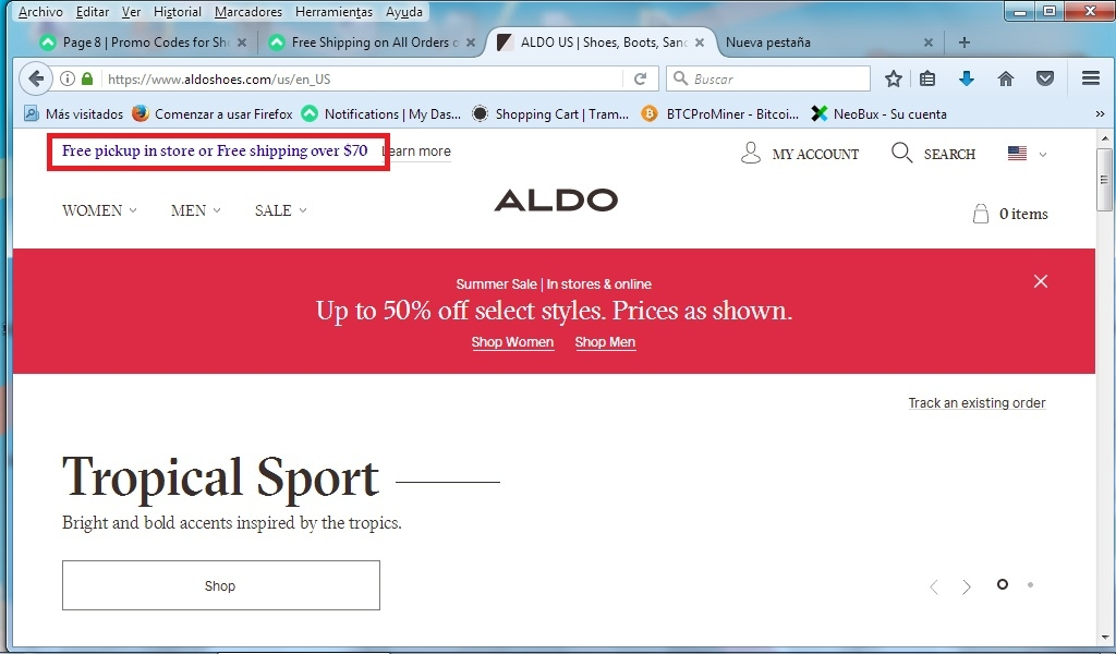Aldo Coupons & Promo Codes. December 06, - TODAY'S BEST OFFER. Extra 30% Off All Sale. Visit Sale. Tested about 10 hours ago. 50% Off Original Price on All Clearance Men's Boots. FREE SHIPPING. 15% Off Your Next Order When You Join a-List + Free Shipping on Orders Over $